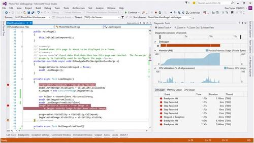 Visual Studio 2015 unifies debugging and profiling into a single Diagnostics Tools window.