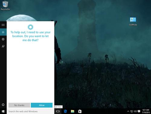 Cortana asking for permission to access your location. Click on any image in this article to enlarge it.