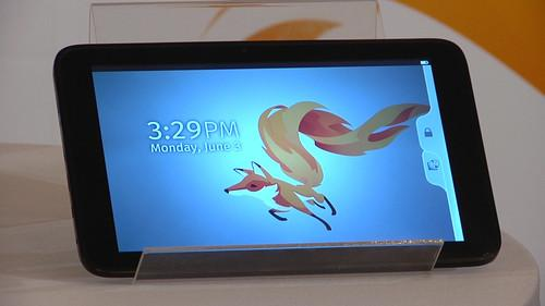 A Firefox-based prototype tablet on show at a Taipei news conference on June 3, 2013.