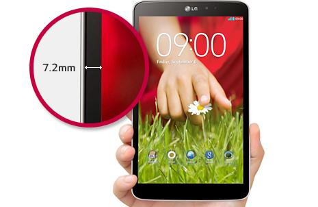 LG claims the small side bezel (7.2mm) maximises screen width and makes the tablet more comfortable to hold
