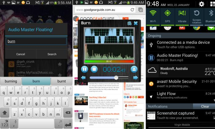 From left to right, you can see what it looks like to search for songs, what the visualisations look like, and how you can access the player from your drop-down menu.