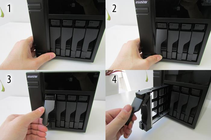 Removing the drive caddies is easy, but a two-step lever guards against accidental drive removal. (Which drives are hot-swappable depends on your RAID configuration.)