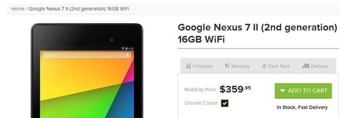 The new Nexus 7 is available through online store MobiCity.