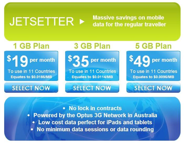 Globalgig's Jetsetter plans, as advertised on its Web site.