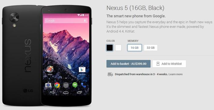 The black 16GB model of the Nexus 5 currently lists a dispatch time of 3-4 weeks.