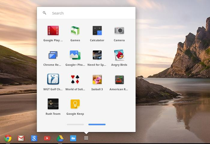 The app drawer is where you can find all of the Google services, as well as any apps that you've installed from the Chrome Web store, which now has a dedicated 'For Your Desktop' section.