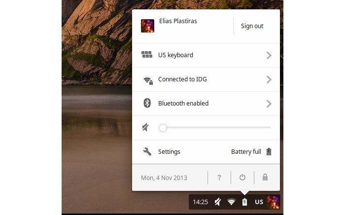 The icons on the right side of the taskbar all bring up the same settings interface, which allow you to perform some quick actions, such as connecting to Wi-Fi and Bluetooth devices.