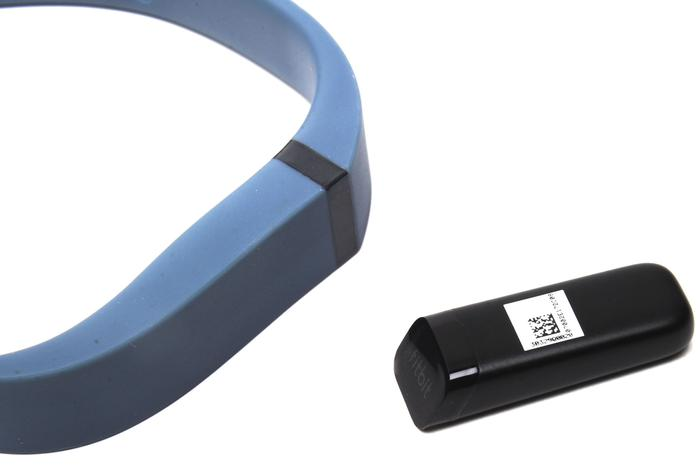 The Fitbit Flex consists of two components. The rubber wristband is a holder for the brains of the device.