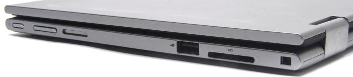 Right side: SD card slot, USB 2.0, volume buttons, power button.