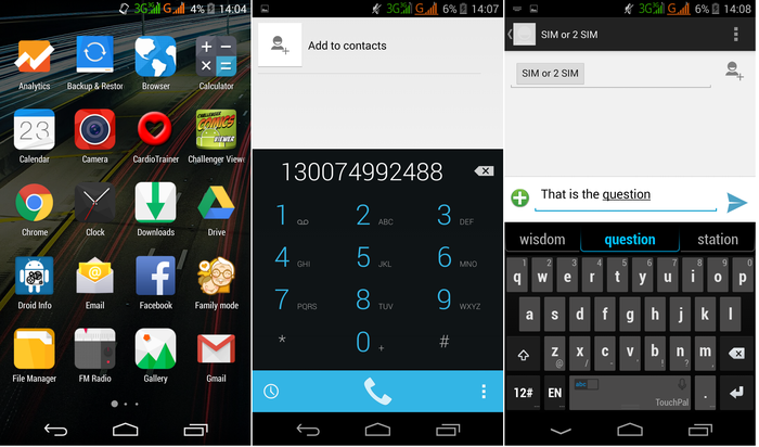 The app drawer, dialler and messaging app