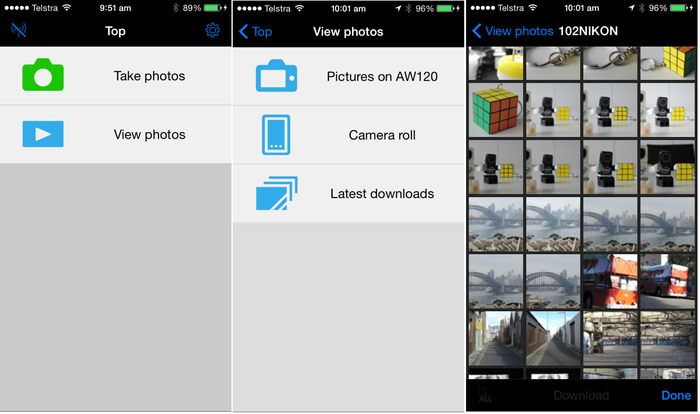 The Nikon 'Mobile wireless utility' app