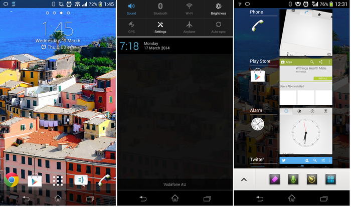 The Xperia z1 Compact's interface