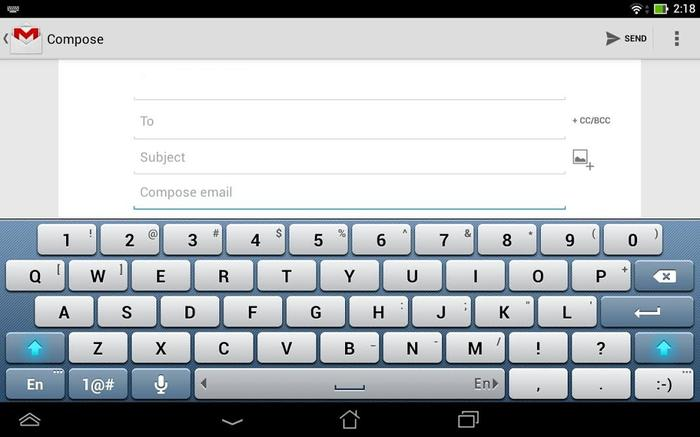 Even the keyboard is custom. Capitalising a letter is as easy as flicking upwards