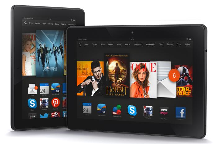 """The 7"""" Kindle Fire HDX (left) and the 8.9"""" Kindle Fire HDX."""
