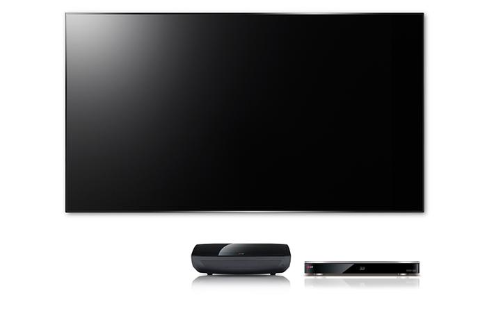The LG Laser Display includes a DLP box, a 100in screen, and a twin-tuner recorder & 3D Blu-ray player.