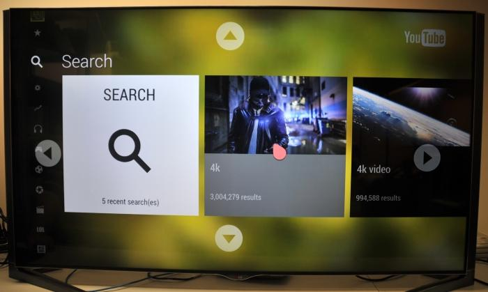 Search history for 4K content through the built-in YouTube application.