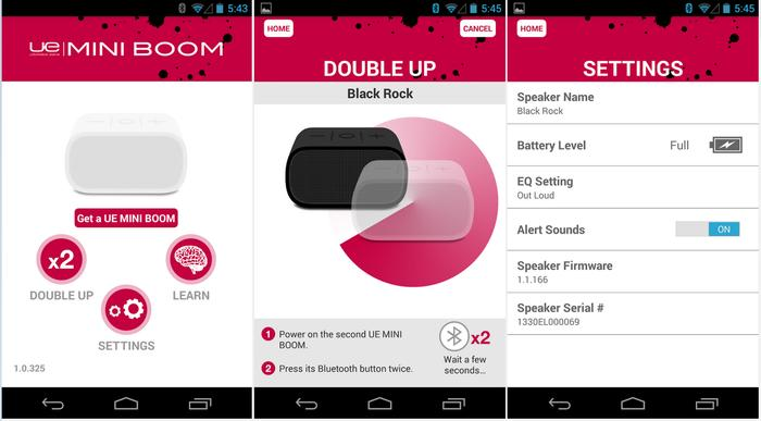 The application communicates speaker information and controls some of its settings