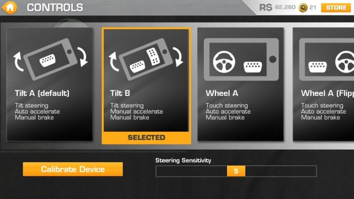Choose your control method: Tilt A uses an automatic throttle while Tilt B allows you to take control of the acceleration.