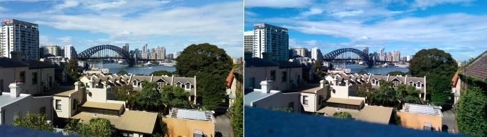 Samsung left, HTC right: HTC's camera tends to brighten light colours and darkens shady areas