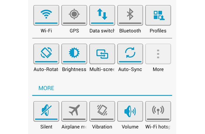 A range of notification panel shortcut toggles can be customised.