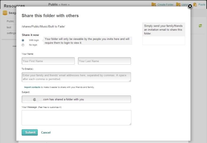 The dialogue box for sharing files through the remote access Web site.