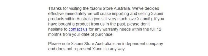 XiaomiStore.com.au now displays this text alone