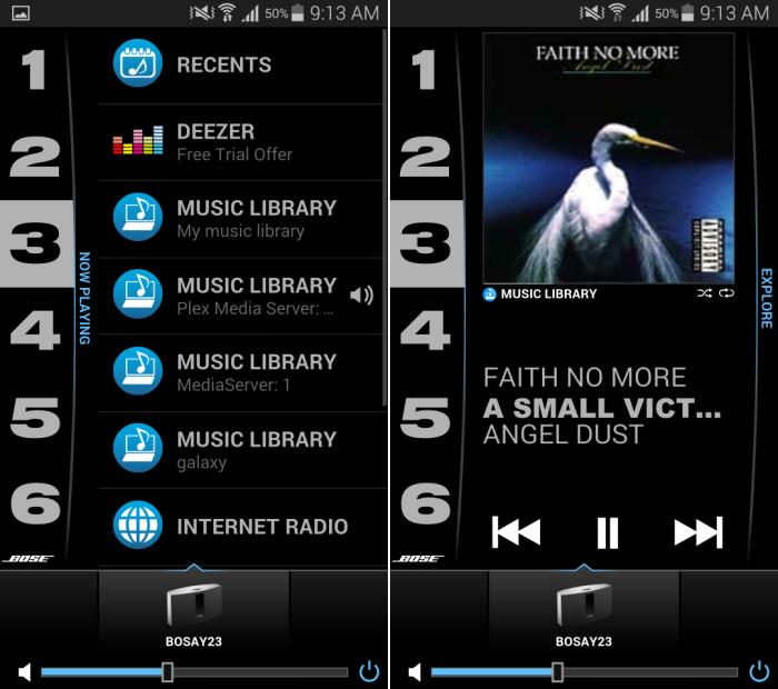 Left: the main SoundTouch interface, from which you can select your music source. Right: what it looks like when playing an album.