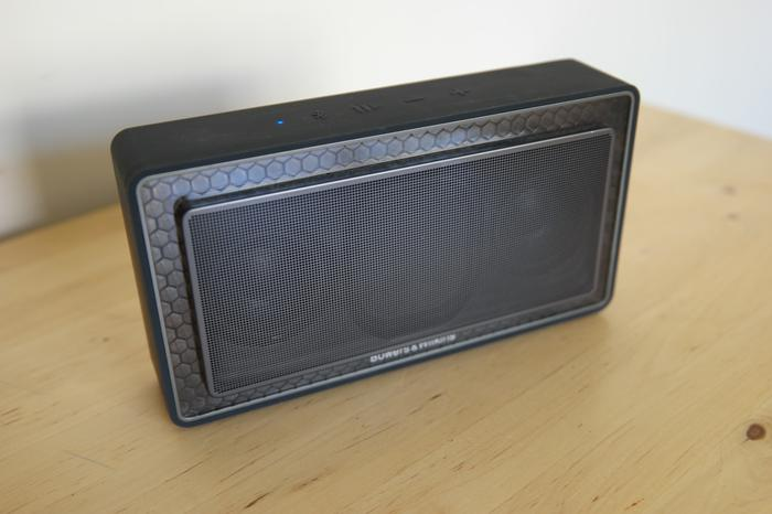 Integrated into the tight polycarbonate enclosure is a battery Bowers & Wilkins' claims can deliver 18 hours of continuous playback, and connections which include an auxiliary input and a microUSB port, although the latter is reserved only for firmware updates.