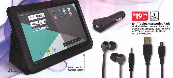 Aldi's tablet accessory pack for the Bauhn tablet.