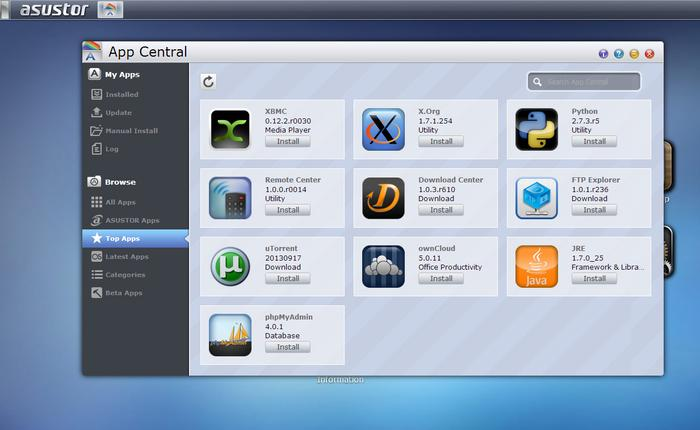 ASUSTOR's App Center boasts a wide variety of apps.