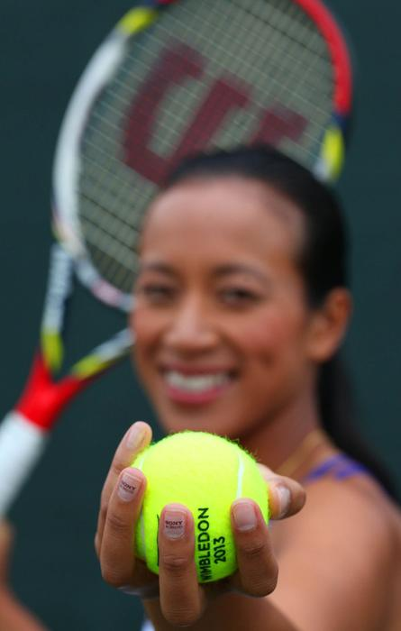 Tennis player Anne Keothavong carries Sony advertising on her fingernails (shown here and above), shoelaces, the hem of her tennis outfit, and other places as she competes at Wimbledon this week.