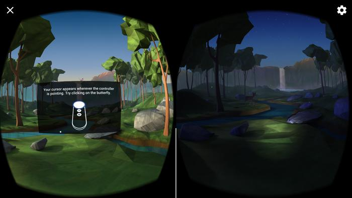 The setup tutorial is fun to do. On the left we're told to click on the butterfly using a pointer system not unlike in a lecture theatre. On the right you move the beam of light around the dark forest like a virtual flashlight.