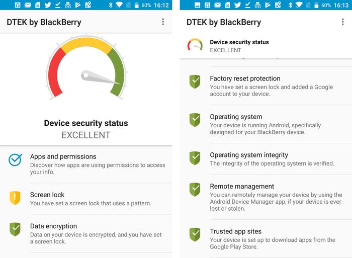 Blackberry DTEK constantly monitors the device for any security leaks.