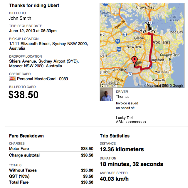 An example of the receipt that is emailed to Uber Taxi passengers.