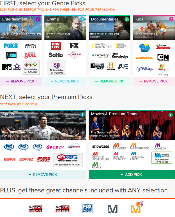 Foxtel's subscription packages for Play.