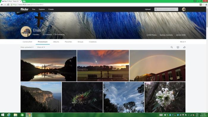 Viewing the same Flickr wall with the resolution set to Full HD. For this sort of task, the 4K resolution is beneficial.