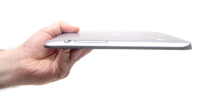 The curve of the tablet, and its power switch.