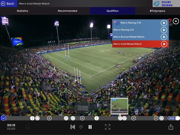 The men's Rugby final with key moments listed along the bottom. Don't click on any of them though, they send you to a different match altogether!