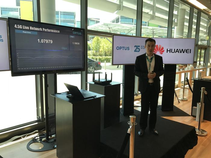 The live 4.5G demonstration at Optus Australian headquarters showed peak speeds of 1.18Gbps over a fixed wireless connection