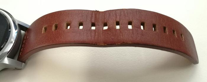 Within just a few days the Horween saddle-leather strap was looking stretched and frayed.