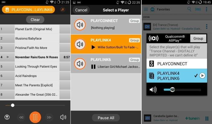 From left to right: the Lenco PlayLink app's playlist view; selecting a speaker to play to within the Lenco app; using the Qualcomm AllPlay Radio app to group the Lenco PlayLink4 and PlayLink6 speakers together to stream a Digitally Imported radio station.