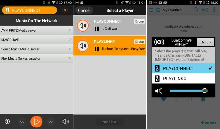 Lenco PlayLink app. From left to right: finding music located on the network, using the PlayConnect as part of a multi-room system, sending music from AllPlay Radio to the PlayConnect.
