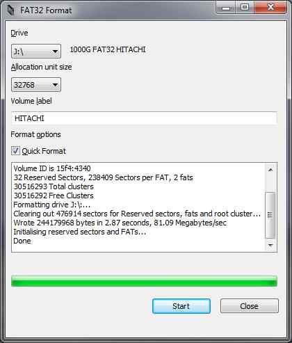 Using the Fat32format utility to convert an NTFS drive to Fat32.