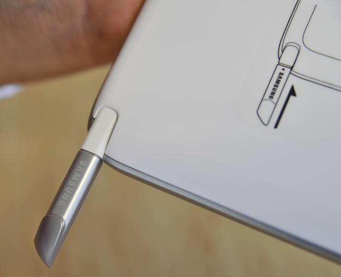 The S Pen slides out from a compartment at the bottom of the Galaxy Note 10.1, as shown above.