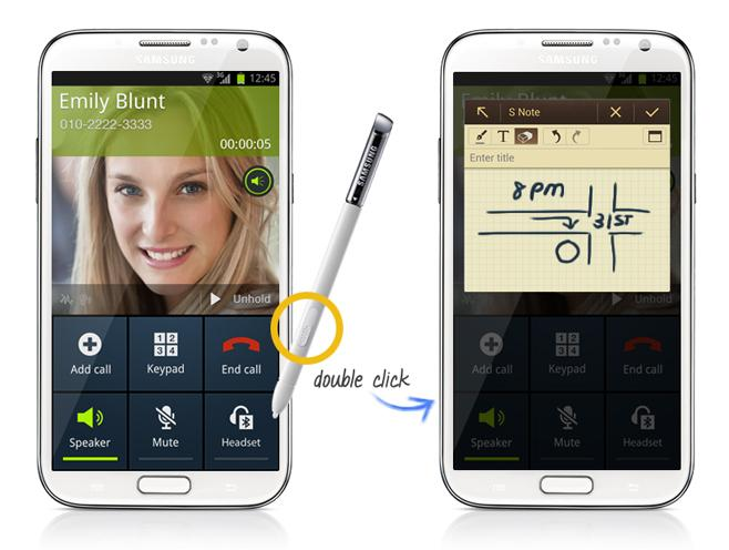 The Popup Note feature will automatically open an S Note pop up on the screen when you pull out the S Pen during a phone call.