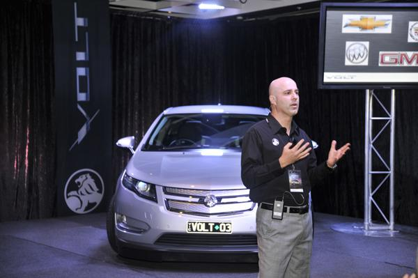 Mike Devereux, Holden's chairman and managing director, discussing the Volt today at a media event in Sydney.