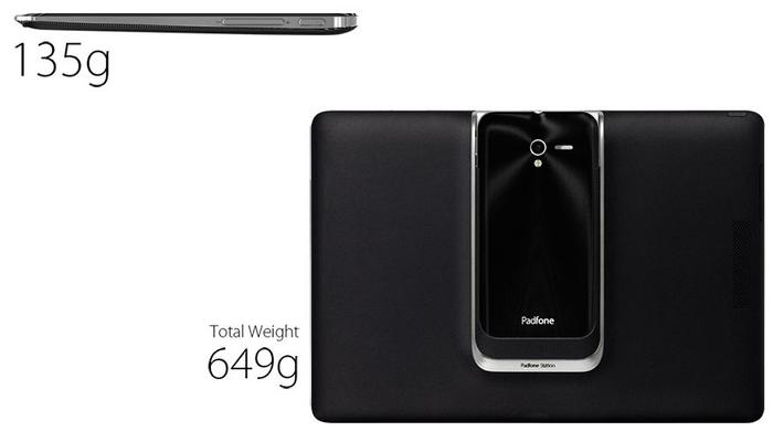 The Padfone 2 package now weighs a competitive 649g all up, compared to the hefty 853g weight of its predecessor.