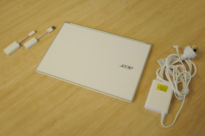 The complete package, including the VGA dongle, Ethernet dongle and power adapter.