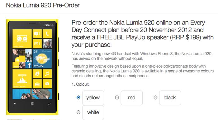 Telstra's pre-order page for the Nokia Lumia 920.