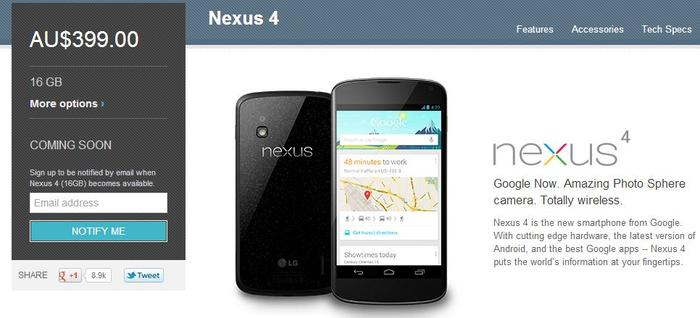The 16GB model Nexus 4, as it appears on the Australian Google Play Store.